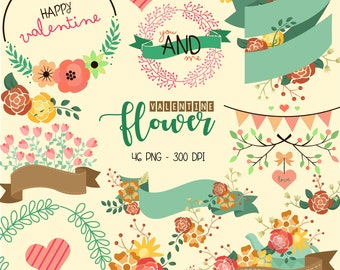 Valentine Typography Clipart - Floral Arrangement Clip Art - Holiday - Free SVG on Request