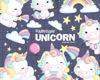 Cute Unicorn Clipart - Rainbow Unicorn Clipart - Free SVG on Request