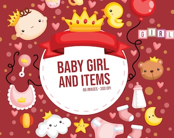 Cute Baby Girl Clipart - Baby Girl and Items - Toys Clipart - Free SVG on Request