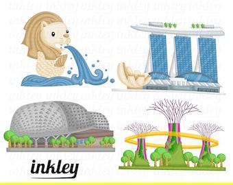 Singapore Landmark Clipart - Singapore Building Clip Art - Free SVG on Request