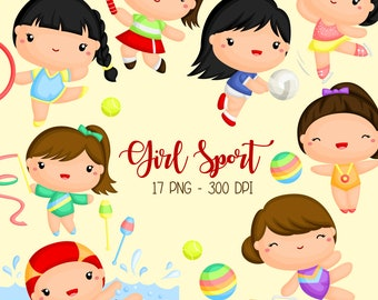 Girl Sports Clipart - Healthy Exercise Clip Art - Gymnastic and Sport - Free SVG on Request
