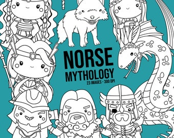 Norse Mythology Clipart - Viking Clip Art - Black and White - Free SVG on Request