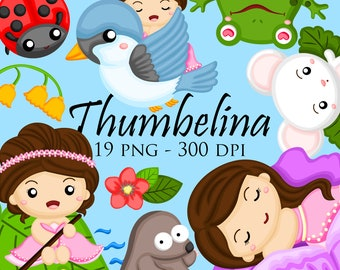 Thumbelina Clipart - Cute Flower Girl Clip Art - Fairy Tale Clipart - Free SVG on Request