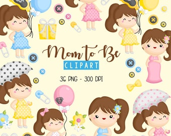 Cute Pregnancy Clipart - Mom to be Clip Art - Baby and Mom Clipart - Free SVG on Request