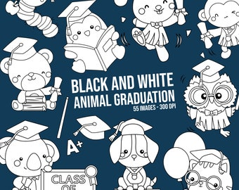 Student and Graduation Clipart - School and University Clip Art - Cute Animal Clipart - Free SVG on Request