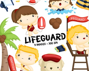 Beach Sea Lifeguard Clipart - Job and Occupation Clip Art - Profession - Free SVG on Request