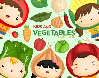 Vegetable and Kids Clipart - Fresh Vegetable Clip Art - Food and Ingredient -  Free SVG on Request
