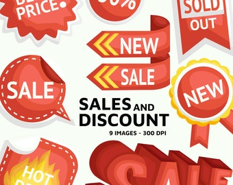 Discount and Sales Clipart - Shop Sales Clip Art - 50% OFF Stamp - Free SVG on Request