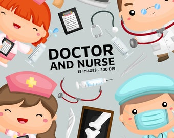 Doctor and Nurse Clipart - Cute Doctor Clip Art - Job and Occupation - Free SVG on Request