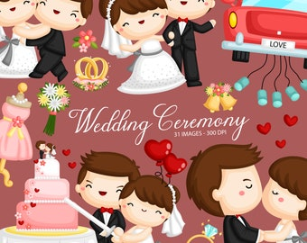 Wedding Ceremony Clipart - Groom and Bride Clip Art - Celebration - Free SVG on Request