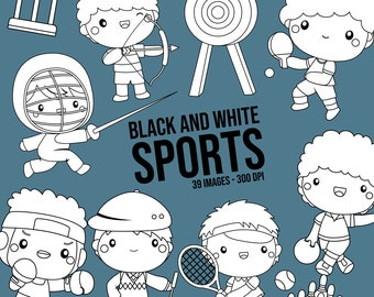 Sport and Boys Clipart - Cute Kids Clip Art - Black and White  -  Free SVG on Request