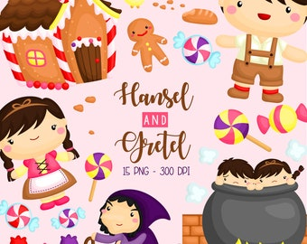 Hansel and Gretel Clipart - Kids Story Clip Art - Fairytale and Story - Free SVG on Request