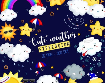 Weather Icon Clipart - Many Type of Weather Clip Art - Cute Expression Clipart - Free SVG on Request