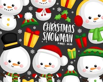 Christmas Snowman Clipart - Snowman in Winter Clip Art - Winter Season - Free SVG on Request