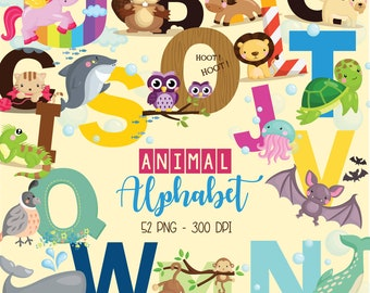 Animal Alphabet Clipart - Education and Learning Clip Art - School - Free SVG on Request