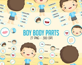 Boy Body Parts Clipart - Kids Body Part Chart Clip Art - Education Chart - Free SVG on Request