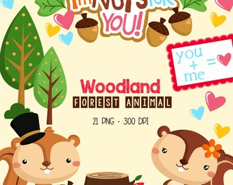 Woodland Animal Clipart - Cute Animal in Love Clip Art - Forest Animal - Free SVG on Request