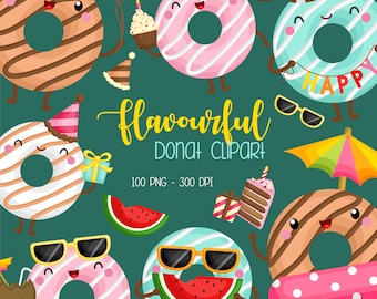 Flavourful Donut Clipart - Sweet Food Clip Art -  Tasty Snack - Free SVG on Request