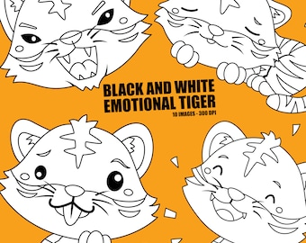 Emotional Tiger Clipart - Cute Animal Clip Art - Black and White- Free SVG on Request