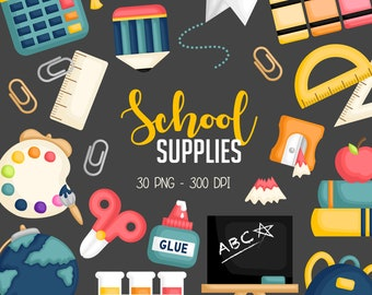 School Supplies Clipart - Education and Learning Clip Art - Homework and Study - Free SVG on Request