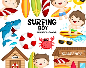 Boy Surfer Clipart - Surfing Activities Clip Art - Cute Kids - Free SVG on Request
