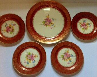 Edwin M. KNOWLES 1940's PLATES Multi Color Floral  Maroon & 22K Gold Trim
