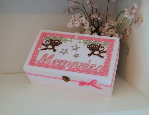 Pink Memory Box, Wooden Box, Girls Bedroom Storage, Monkey Gift, Keepsake  Box, Girls Birthday, Gifts for Girls, Memories Chest, Baby Shower