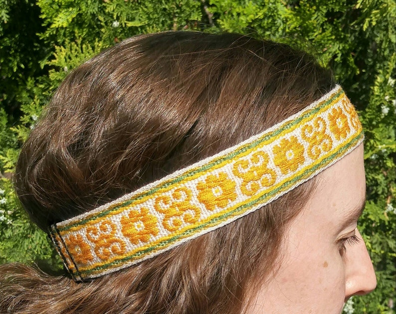 60s , 70s Hippie Clothes for Men Mens Headbands vintage trim woven yellow orange green & cream hippie headbands 70s vintage style guys headbands mens headbands Boho style $17.00 AT vintagedancer.com