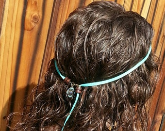 Tying headband turquoise leather Boho hippie style leather hair accessories adjustable 1970s style hippy Bohemian simple tie-back headbands