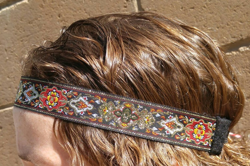 Hippie Dress | Long, Boho, Vintage, 70s Mens headband hair accessories Hippie Bohemian Gypsy Headband black red gold floral design festival wear 70s inspired headbands Boho style $16.00 AT vintagedancer.com