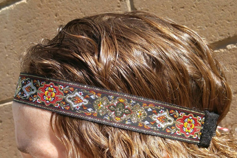 70s Headbands, Wigs, Hair Accessories Mens headband hair accessories Hippie Bohemian Gypsy Headband black red gold floral design festival wear 70s inspired headbands Boho style $16.00 AT vintagedancer.com