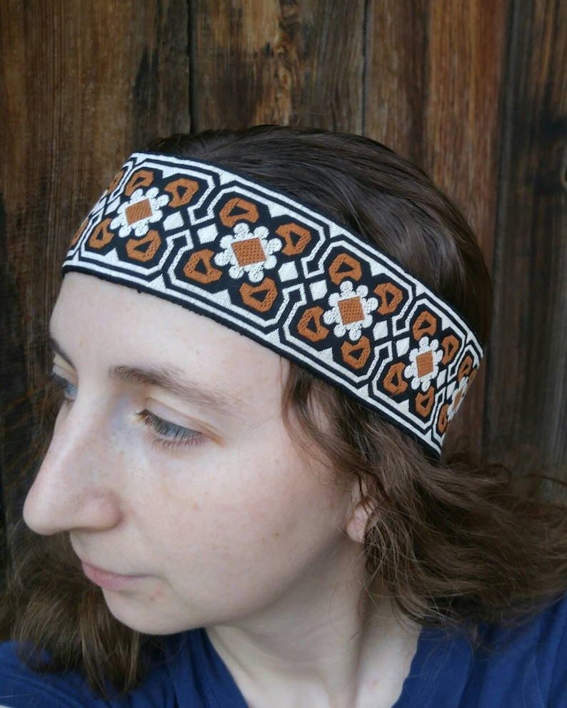 70s Headbands, Wigs, Hair Accessories Mens Hippie Boho Headbands made with Vintage Trim mod 70s style headband guys hair accessories 2 in wide forehead band modern Bohemian style $18.00 AT vintagedancer.com