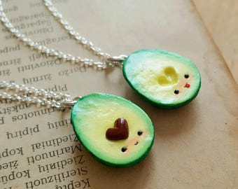 Heart BFF avocado necklaces, Best friend necklace, vegan jewelry, avocado jewelry, friendship pendant, food necklace, bff gift, food pendant