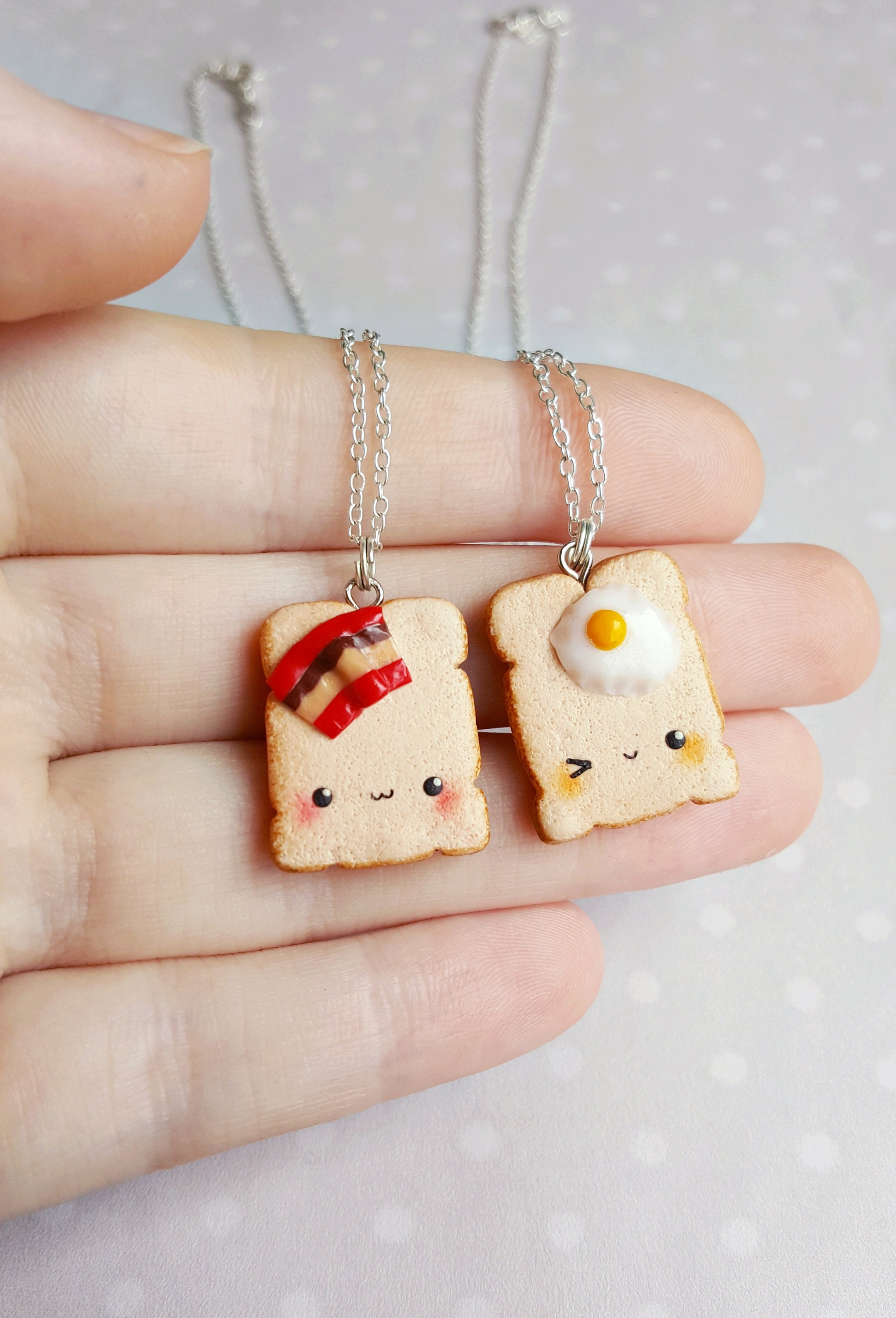 Keychain and Necklace Foodie Gift Food Charms Food Jewelry Food Keychain Bacon Cheese Fry Charm Food Necklace