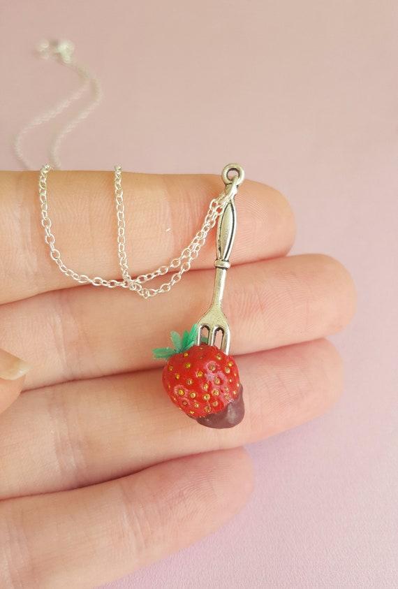 Bauchnabel Piercing Schmuck mit Erdbeeren Anhänger