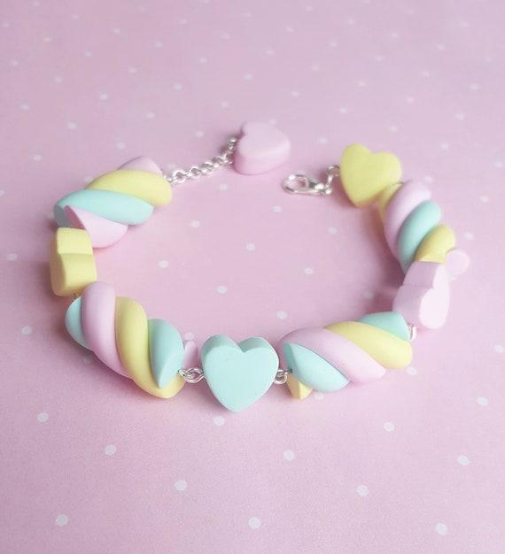 Bracelet candy Marshmallow pink blue orange
