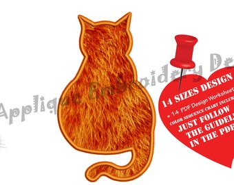 Cat Applique Embroidery Design-Kitty Applique Pattern