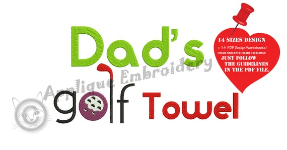 Golf Embroidery Design Sports Embroidery Dad Golf Towel Etsy