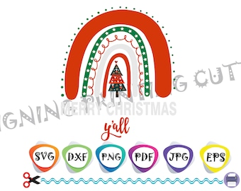 CHRISTMAS TREE Rainbow svg,Merry Christmas svg,Christmas decoration,Face mask svg,Sublimation,Silhouette Cutting,Svg file for Cricut,Vector