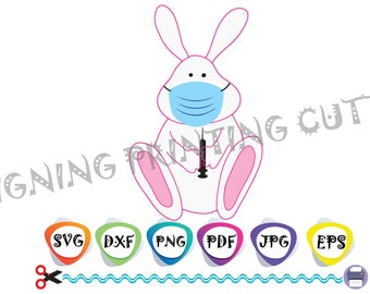EASTER BUNNY svg,Face Mask svg,Bunny with Mask,Vaccinated svg,Quarantine svg,Happy Easter svg,Silhouette Cutting,Svg file Cricut,Dxf,Pdf