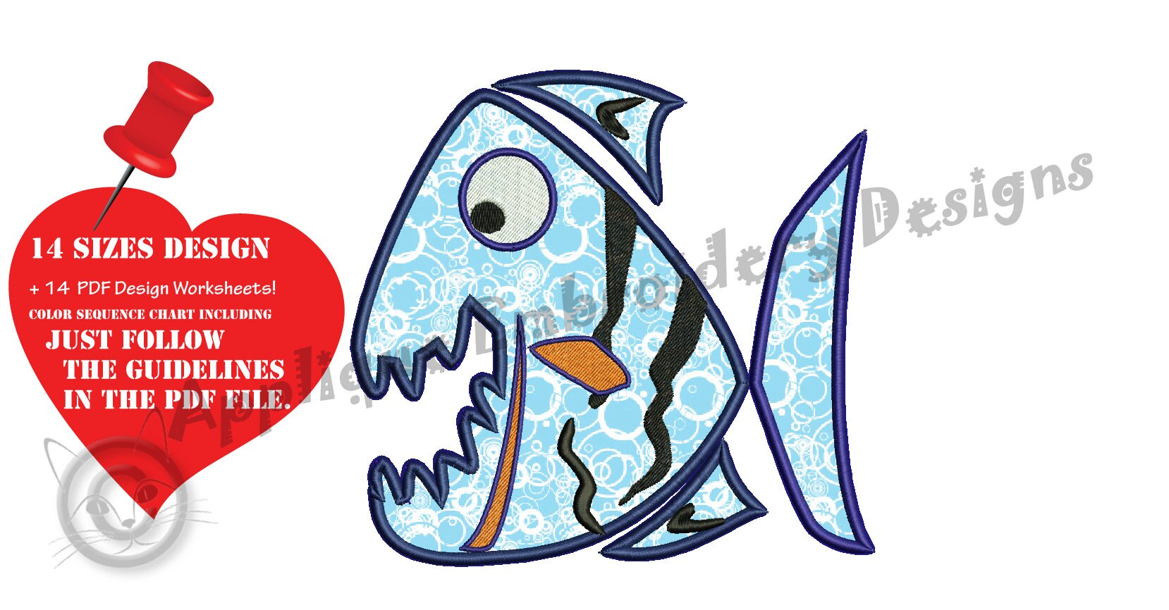 Piranha Fish Embroidery Applique Design Sea Life Applique