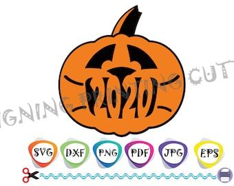 PUMPKIN SVG-Halloween Pumpkin svg,Face mask svg,Tshirt svg,Pumpkin 2020,Pumpkin with mask,Boo Sheet 2020,Silhouette Cutting,Halloween 2020