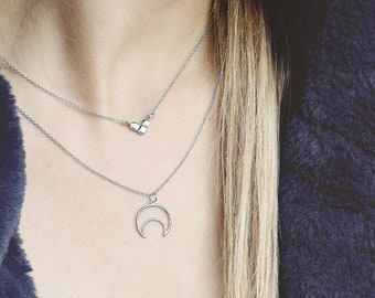 Crescent Moon Necklace, Half Moon Necklace Silver, Upside Down Moon Necklace, Dainty Moon Charm, Moon Phase Necklace, Open Moon Charm