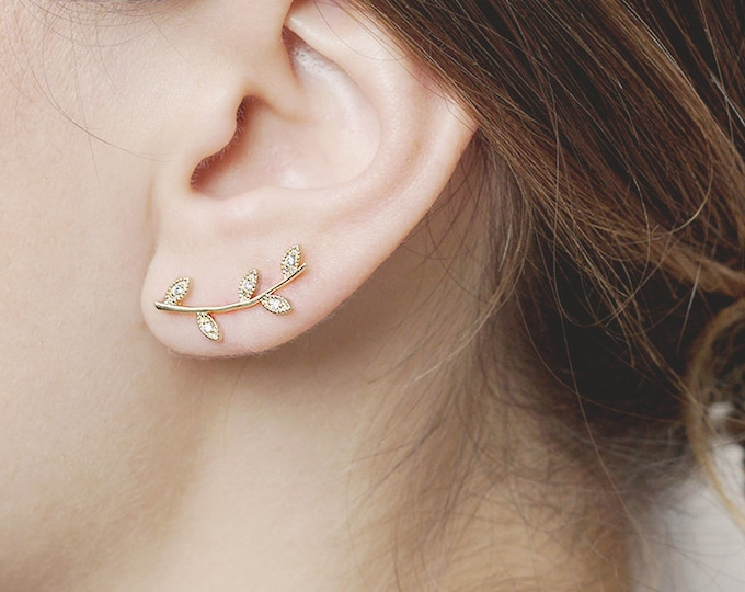 Crystal Leaf Ear Climber, Olive Branch Earring, Leaf Ear Climber, Flower Cartilage, Earring Climber, Gold Fill Ear Climber, Ear Piercing