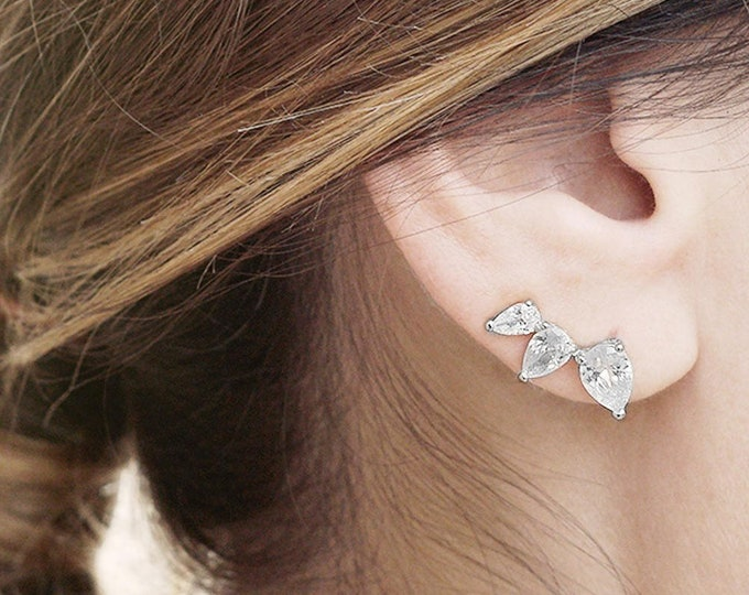 Crystal Ear Climber, Tear Drop Ear Cuff, Ear Climber Stone Earring, Cz Ear Crawler, Silver Dainty Stone Earring, Dainty Jewelry Women