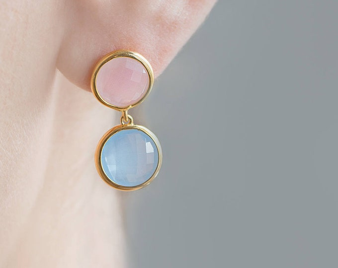 Long Stone Earring, Two Toned Earring, Rose Quartz Jewelry, Pink and Blue Earring, Gemstone Earring, Stone Earring Gold,Double Hoop Earrings