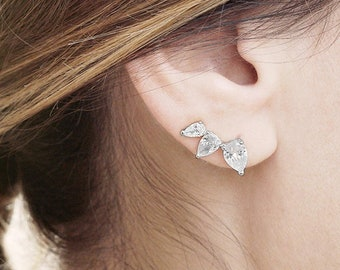 Crystal Ear Climber, Tear Drop Ear Cuff, Ear Climber Stone Earring, Cz Ear Crawler, Silver Dainty Stone Earring, Dainty Jewelry Women