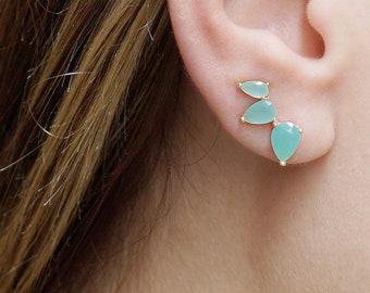 Ear Climber Earring,Silver Ear Crawler,Aquamarine Earring,Chalcedony Earring,Earring Jacket,Ear Climber Sterling Silver,Ear Cuff No Piercing