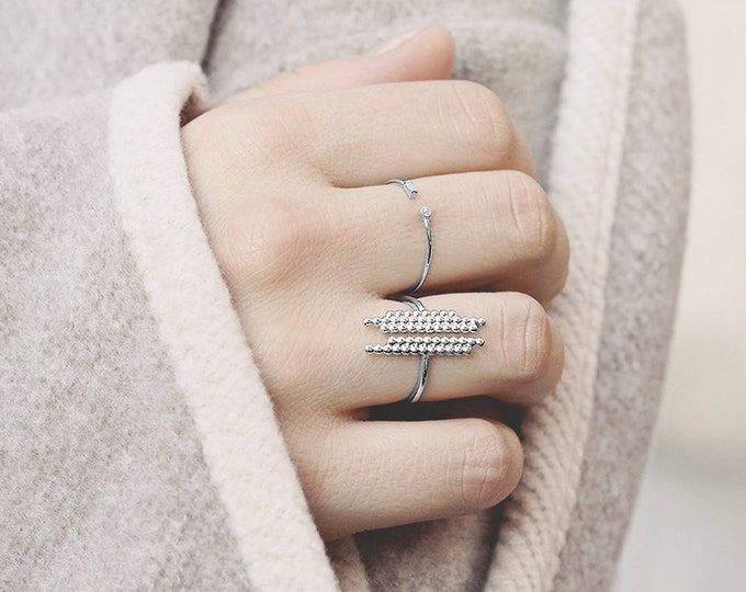 Open Statement Ring, Bubble Ring Silver, Dot Jewelry, Open Ball Ring, Asymmetric Ring, Contemporary Ring, Parallel Bar Ring, Ring Women
