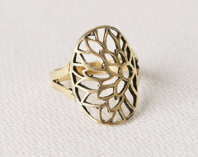 Filigree Gold Ring, Large Tree Ring, Vintage Tree Ring, Gold Plated Statement Ring, Leaves Ring, Branch Ring, Large Flower Ring, Boho Ring